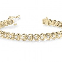 Diamond Tennis Heart Link Bracelet 14k Yellow Gold (1.23ct)