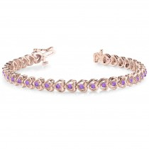 Amethyst Tennis Heart Link Bracelet 14k Rose Gold (2.00ct)