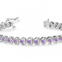 Amethyst Tennis Heart Link Bracelet 14k White Gold (2.00ct)