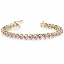 Amethyst Tennis Heart Link Bracelet 14k Yellow Gold (2.00ct)