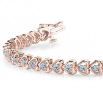 Aquamarine Tennis Heart Link Bracelet 14k Rose Gold (2.00ct)