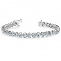 Aquamarine Tennis Heart Link Bracelet 14k White Gold (2.00ct)