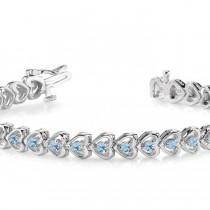 Aquamarine Tennis Heart Link Bracelet 14k White Gold (2.00ct)|escape