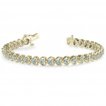 Aquamarine Tennis Heart Link Bracelet 14k Yellow Gold (2.00ct)