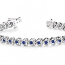Blue Sapphire Tennis Heart Link Bracelet 14k White Gold (2.00ct)