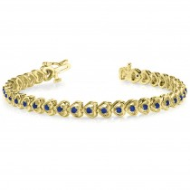 Blue Sapphire Tennis Heart Link Bracelet 14k Yellow Gold (2.00ct)