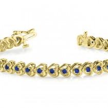 Blue Sapphire Tennis Heart Link Bracelet 14k Yellow Gold (2.00ct)