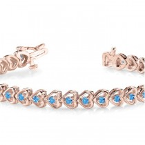 Blue Topaz Tennis Heart Link Bracelet 14k Rose Gold (2.00ct)