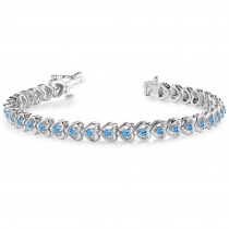 Blue Topaz Tennis Heart Link Bracelet 14k White Gold (2.00ct)