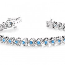 Blue Topaz Tennis Heart Link Bracelet 14k White Gold (2.00ct)|escape