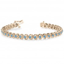 Blue Topaz Tennis Heart Link Bracelet 14k Yellow Gold (2.00ct)