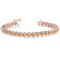 Citrine Tennis Heart Link Bracelet 14k Rose Gold (2.00ct)