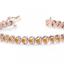 Citrine Tennis Heart Link Bracelet 14k Rose Gold (2.00ct)