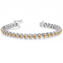 Citrine Tennis Heart Link Bracelet 14k White Gold (2.00ct)