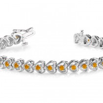 Citrine Tennis Heart Link Bracelet 14k White Gold (2.00ct)|escape