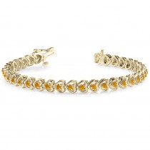 Citrine Tennis Heart Link Bracelet 14k Yellow Gold (2.00ct)
