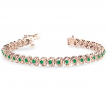 Emerald Tennis Heart Link Bracelet 14k Rose Gold (2.00ct)