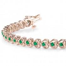 Emerald Tennis Heart Link Bracelet 14k Rose Gold (2.00ct)