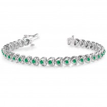 Emerald Tennis Heart Link Bracelet 14k White Gold (2.00ct)