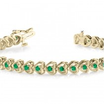 Emerald Tennis Heart Link Bracelet 14k Yellow Gold (2.00ct)