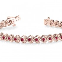 Garnet Tennis Heart Link Bracelet 14k Rose Gold (2.00ct)