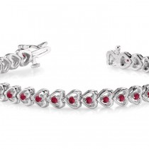 Garnet Tennis Heart Link Bracelet 14k White Gold (2.00ct)