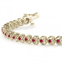 Garnet Tennis Heart Link Bracelet 14k Yellow Gold (2.00ct)