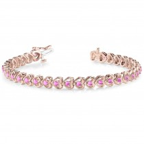 Pink Sapphire Tennis In Line Heart Link Bracelet 14k Rose Gold (2.00ct)
