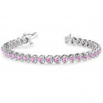 Pink Sapphire Tennis In Line Heart Link Bracelet 14k White Gold (2.00ct)