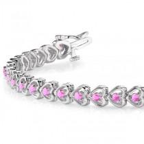 Pink Sapphire Tennis In Line Heart Link Bracelet 14k White Gold (2.00ct)