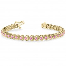 Pink Sapphire Tennis In Line Heart Link Bracelet 14k Yellow Gold (2.00ct)
