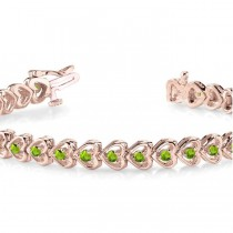 Peridot Tennis Heart Link Bracelet 14k Rose Gold (2.00ct)