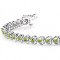 Peridot Tennis Heart Link Bracelet 14k White Gold (2.00ct)