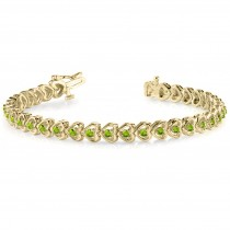 Peridot Tennis Heart Link Bracelet 14k Yellow Gold (2.00ct)