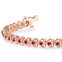 Ruby Tennis Heart Link Bracelet 14k Rose Gold (2.00ct)
