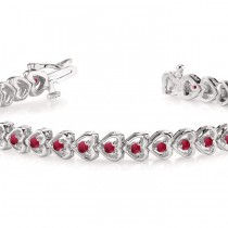 Ruby Tennis Heart Link Bracelet 14k White Gold (2.00ct)