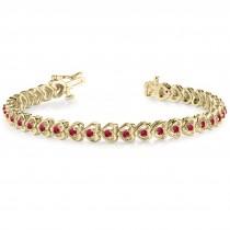 Ruby Tennis Heart Link Bracelet 14k Yellow Gold (2.00ct)
