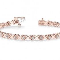Diamond XOXO Chained Line Bracelet 14k Rose Gold (0.91ct)