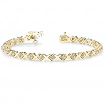 Diamond XOXO Chained Line Bracelet 14k Yellow Gold (0.91ct)