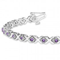 Amethyst XOXO Chained Line Bracelet 14k White Gold (1.50ct)