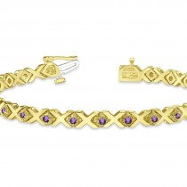 Amethyst XOXO Chained Line Bracelet 14k Yellow Gold (1.50ct)