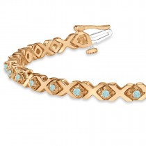 Aquamarine XOXO Chained Line Bracelet 14k Rose Gold (1.50ct)