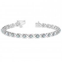 Aquamarine XOXO Chained Line Bracelet 14k White Gold (1.50ct)
