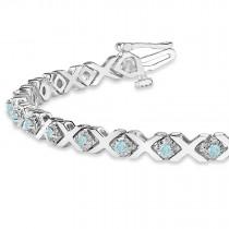 Aquamarine XOXO Chained Line Bracelet 14k White Gold (1.50ct)