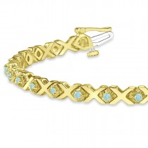 Aquamarine XOXO Chained Line Bracelet 14k Yellow Gold (1.50ct)