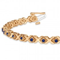 Blue Sapphire XOXO Chained Line Bracelet 14k Rose Gold (1.50ct)