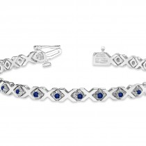 Blue Sapphire XOXO Chained Line Bracelet 14k White Gold (1.50ct)|escape