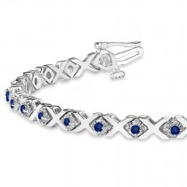 Blue Sapphire XOXO Chained Line Bracelet 14k White Gold (1.50ct)