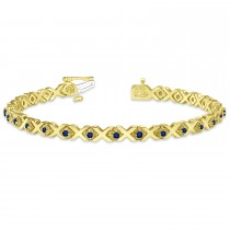 Blue Sapphire XOXO Chained Line Bracelet 14k Yellow Gold (1.50ct)