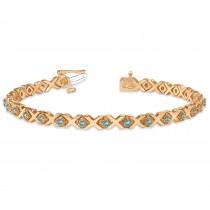Blue Topaz XOXO Chained Line Bracelet 14k Rose Gold (1.50ct)